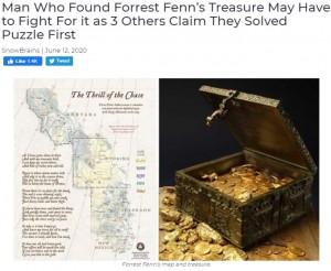 宝の在処を示した24行の詩とヒントの地図(画像は『SnowBrains 2020年6月12日付「Man Who Found Forrest Fenn's Treasure May Have to Fight For it as 3 Others Claim They Solved Puzzle First」』のスクリーンショット)