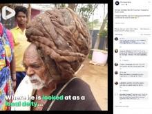 【海外発!Breaking News】95年間一度も髪を切ったことがない男性、村人は神と崇める(印)<動画あり>