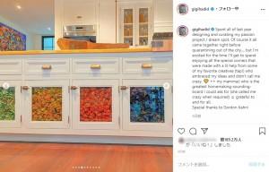 カラフルなパスタが見られるキャビネット(画像は『Gigi Hadid 2020年7月26日付Instagram「Spent all of last year designing and curating my passion project / dream spot.」』のスクリーンショット)