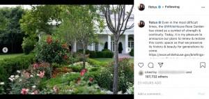 ホワイトハウスで修繕予定のバラ園(画像は『First Lady Melania Trump 2020年7月27日付Instagram「Even in the most difficult times, the @WhiteHouse Rose Garden has stood as a symbol of strength & continuity.」』のスクリーンショット)