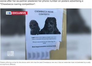 ジェシカさんの元恋人が作成したポスター(画像は『9News 2020年7月23日付「Bizarre Chewbacca revenge taken on Queensland woman over break-up」(9News)』のスクリーンショット)