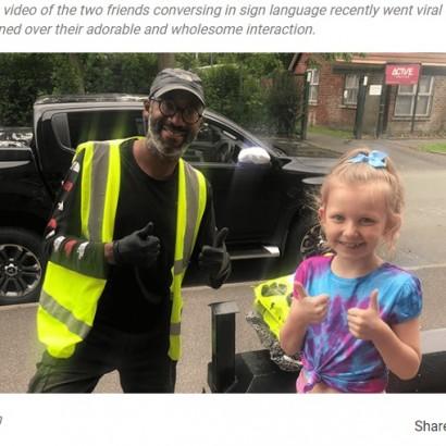 【海外発!Breaking News】聴覚障がいの配達員のため手話を学んだ8歳少女「友情が生まれた瞬間」に感動呼ぶ(英)<動画あり>