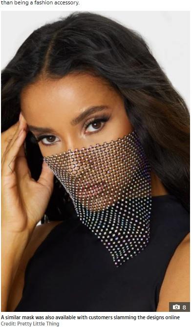 口と鼻がはっきり分かるほど透けているマスク(画像は『The Sun 2020年7月15日付「FACE FACTS PrettyLittleThing slammed for selling useless face masks bedazzled in diamante and made from fishnet for £10」(Credit: Pretty Little Thing)』のスクリーンショット)