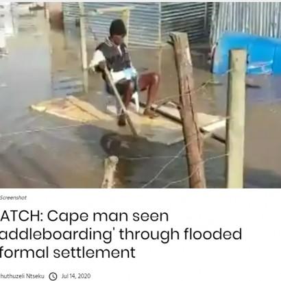 【海外発!Breaking News】暴風雨直撃の南ア・ケープタウン 住民が自作ボートで道路を渡る様子に政府批判の声も