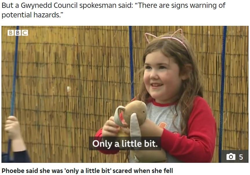 """インタビューに応じる""""怖いもの知らず""""の女児(画像は『The Sun 2020年7月29日付「'I WAS SCARED' Brave girl, 6, tells of moment she slipped and plunged 100ft down waterfall in front of screaming mum」』のスクリーンショット)"""