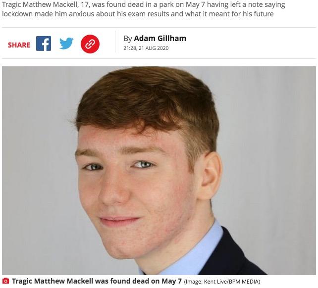 会計士を目指していたものの自ら命を絶った17歳少年(画像は『Mirror 2020年8月21日付「Teen who took his own life while worried about studies got top marks in exam」(Image: Kent Live/BPM MEDIA)』のスクリーンショット)