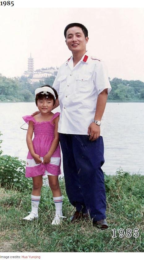 6歳となった華華さんと若々しい允慶さん(画像は『Bored Panda 2020年8月20日付「This Dad And Daughter Have Been Taking Yearly Pics At The Same Spot For 40 Years, And The Pics Show How Time Flies」(Image credits: Hua Yunqing)』のスクリーンショット)
