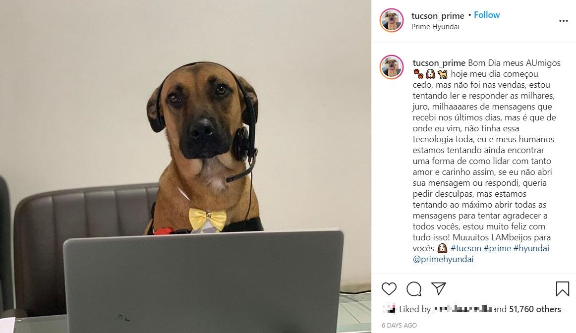 ヒュンダイ販売店で働くツーソンの様子(画像は『TUCSON PRIME 2020年8月5日付Instagram「Bom Dia meus AUmigos」』のスクリーンショット)
