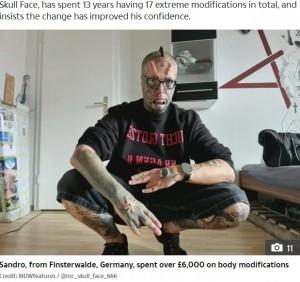 身体改造を続けるサンドロさん(画像は『The Sun 2020年8月26日付「HEAD CASE Tattoo addict chops off his own EARS and spends £6,000 to make his head look like SKULL」(Credit: MDWfeatures / @mr._skull_face_666)』のスクリーンショット)