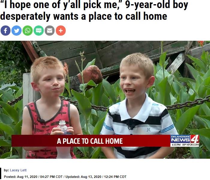 """ジョーダン君(右)、新しい家族が見つかった弟ブレンゾン君と(画像は『KFOR.com 2020年8月13日付「""""I hope one of y'all pick me,"""" 9-year-old boy desperately wants a place to call home」』のスクリーンショット)"""