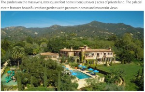 ヘンリー王子夫妻が購入したとされる約15億6600万円の豪邸(画像は『Royal Home Style 2020年8月13日付「Meghan & Harry's New California Home」』のスクリーンショット)