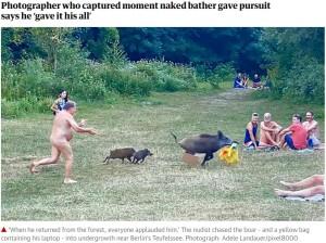 【海外発!Breaking News】日光浴中にイノシシにノートパソコンを奪われた男性 裸のまま必死に追いかける(独)