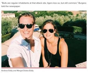 アンドリューさんとマーゴットさん夫婦(画像は『New York Post 2020年9月23日付「Man rescued by pregnant wife after shark attack in Florida」(Facebook)』のスクリーンショット)
