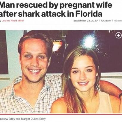 【海外発!Breaking News】妊娠中の妻、サメに襲われた夫を海に飛び込み救助(米)
