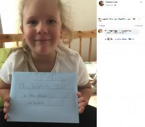 天国宛てに手紙を送ったナヴェアちゃん(画像は『Tamara Lowe 2020年8月28日付Facebook「I HAVE FOUND HIM!! Thankyou for your help Facebook!」』のスクリーンショット)