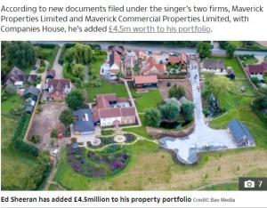 """エドがサフォーク州に所有する""""シーラン都市(Sheeranville)""""。(画像は『The Sun 2020年9月22日付「ED'S HOMESTEAD Ed Sheeran's vast property empire now worth £61m after snapping up new houses in lockdown」(Credit: Bav Media)』のスクリーンショット)"""
