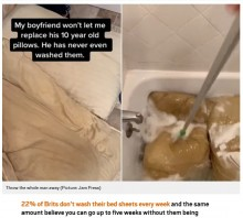 【海外発!Breaking News】彼氏が枕を10年間洗っていなかったことが発覚 黄ばんだ枕が真っ白に生まれ変わる(米)<動画あり>