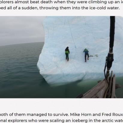 【海外発!Breaking News】ひっくり返る氷山の上にいた探検家、命拾いし「北極でやっていけないことの教訓になった」<動画あり>