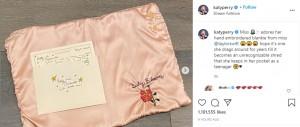 テイラーから届いたピンクのブランケットとカード(画像は『KATY PERRY 2020年9月13日付Instagram「Miss adores her hand embroidered blankie from miss @taylorswift」』のスクリーンショット)