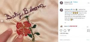 ブランケットには「ベイビー・ブルーム」の刺繍が(画像は『KATY PERRY 2020年9月13日付Instagram「Miss adores her hand embroidered blankie from miss @taylorswift」』のスクリーンショット)