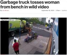 【海外発!Breaking News】ゴミ収集車が操作ミス ベンチに座っていた女性を道路に投げ出す(米)<動画あり>