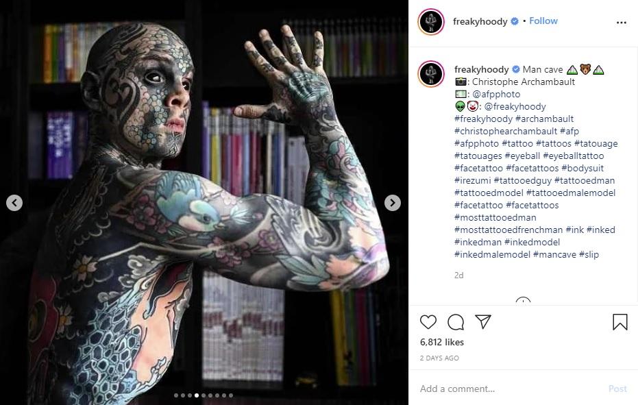 「自分の身体は芸術」と語るシルヴァンさん(画像は『Sylvain 2020年9月26日付Instagram「Man cave」』のスクリーンショット)