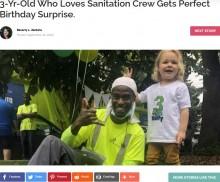 【海外発!Breaking News】ゴミ収集車が大好きな男児の3歳誕生日に、作業員が温かいサプライズ(カナダ)<動画あり>