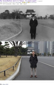 73年の時を経て皇居前で撮影された祖父と孫(画像は『old.reddit.com 2020年8月10日付「My Grandfather and I in Tokyo, 73 years apart」』のスクリーンショット)