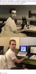 医学の道に進んだ祖父と70年後の孫(画像は『old.reddit.com 2019年10月10日付「Me and my grandpa in medical school 70 years apart (equally sleep deprived)」』のスクリーンショット)