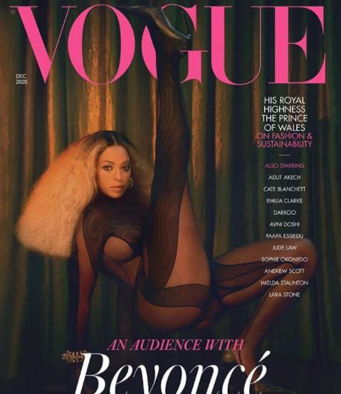透けるボディスーツで大胆なポーズを取るビヨンセ(画像は『British Vogue 2020年10月30日付Instagram「@Beyonce stars on three special covers for the December 2020 issue of #BritishVogue.」』のスクリーンショット)