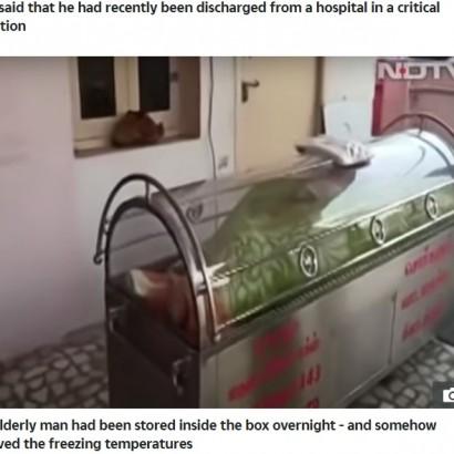 【海外発!Breaking News】遺体用冷凍ケースに20時間入れられた74歳男性、実は生きていた!(印)<動画あり>