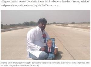 トランプ大統領の写真を持ち歩き「いつかは会いたい」と夢見ていたブッサさん(画像は『The Indian Express 2020年10月12日付「Telangana: Upset over Trump contracting Covid, his ardent fan dies of cardiac arrest」(Bussa Krishna/Facebook)』のスクリーンショット)