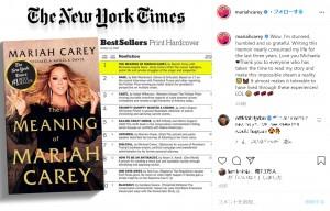 自著の1位を喜ぶマライア(画像は『Mariah Carey 2020年10月8日付Instagram「Wow. I'm stunned, humbled and so grateful.」』のスクリーンショット)