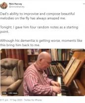 【海外発!Breaking News】認知症の元音楽教師が自作の曲をピアノ演奏 BBCフィルとコラボし、楽曲リリースへ(英)