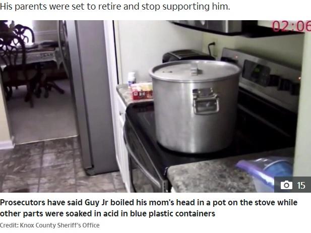 母親の頭部を入れて煮ていた鍋(画像は『The Sun 2020年10月6日付「PAYING THE PRICE Son Joel Guy Jr, 32, who ambushed parents then horrifically butchered and boiled them 'for $500k insurance' is convicted」(Credit: Knox County Sherriff's Office)』のスクリーンショット)