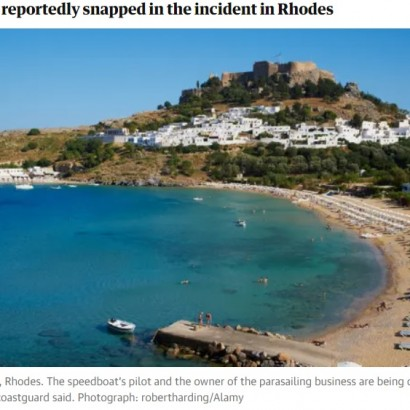 【海外発!Breaking News】パラセーリング中にロープが切れて15歳、13歳死亡 年齢制限違反でオーナー逮捕(ギリシャ)