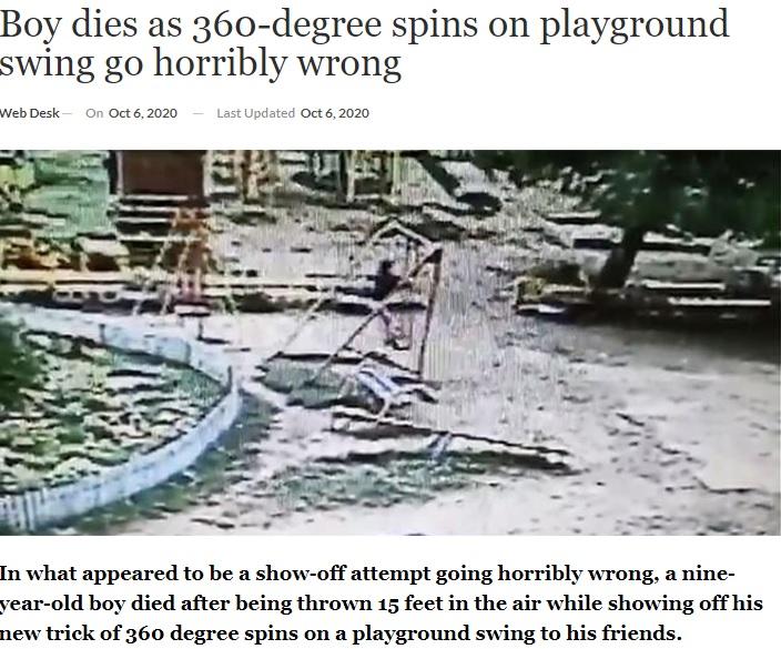 事故が起きる直前の男児の様子(画像は『ARY News 2020年10月6日付「Boy dies as 360-degree spins on playground swing go horribly wrong」』のスクリーンショット)