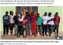 【海外発!Breaking News】タンザニアの孤児院を訪れた英出身の女性 26歳の若さで養子14人を迎える