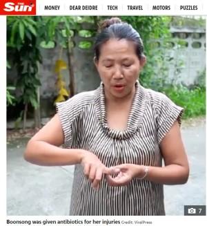 【海外発!Breaking News】トイレ中の女性、2メートル超のニシキヘビにお尻と指を噛まれる(タイ)
