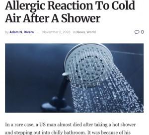 【海外発!Breaking News】寒さでアレルギーを起こす男性、シャワー後に命の危機に(米)