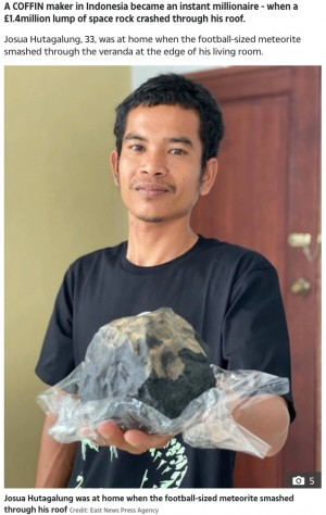 【海外発!Breaking News】庭に落下した隕石が1.9億円以上の価値! 棺桶職人の男性が億万長者に(インドネシア)<動画あり>