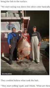 45分かけてオパを釣り上げた3人(画像は『WGHP FOX8 2020年11月11日付「Fishermen reel in 143-pound opah fish off Virginia coast」(Courtesy photo)』のスクリーンショット)