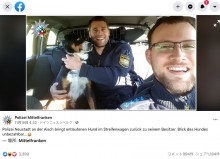 迷い犬、警察官に保護されてショック? ユニークな表情が人気集める(独)