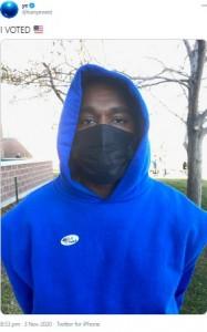 人生初の投票で、自分に一票入れたカニエ(画像は『ye 2020年11月3日付Twitter「I VOTED」』のスクリーンショット)