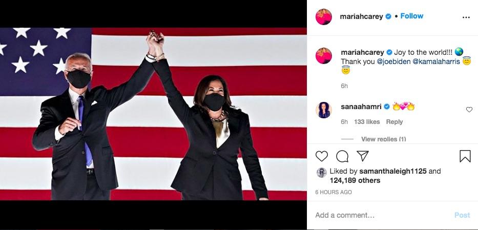 バイデン&ハリス新政権誕生は「世界にとって喜ばしいこと!!!」とマライア(画像は『Mariah Carey 2020年11月7日付Instagram「Joy to the world!!!」』のスクリーンショット)