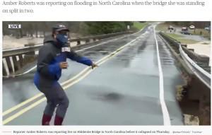 【海外発!Breaking News】洪水の中継中に橋が崩落 リポーターは間一髪で回避(米)<動画あり>