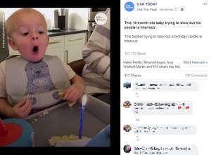 【海外発!Breaking News】ケーキのロウソクの火を吹き消すことができない1歳児、その表情がとびきりキュート(米)<動画あり>