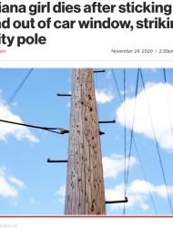 【海外発!Breaking News】自撮りによる事故か 走行車の窓から身を乗り出した少女、電柱にぶつかり死亡(米)