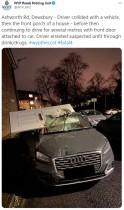 【海外発!Breaking News】運転中に民家に衝突した18歳少年 玄関ドアが車に刺さったまま逃走図る(英)