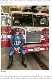 ノーラン君が大好きな「キャプテン・アメリカ」も駆けつける(画像は『InspireMore.com 2020年11月19日付「Firefighters Lift 4-Yr-Old Cancer Patient's Spirits With Special Hospital Visit.」(Facebook)』のスクリーンショット)